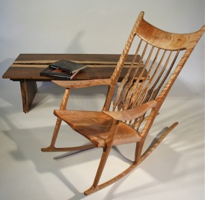 Rocking Chair, Sam Maloof Inspired, with Snake River Gorge Table